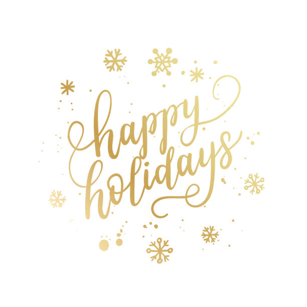 Happy+holidays+hand+lettering+calligraphy+isolated+on+white+background.+Vector+holiday+illustration+element.+Golden+eve+inscription+text
