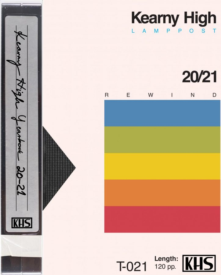 "The 2021 yearbook cover is modeled after a generic retro VHS tape cover. From the suggestions, Senior class voted ""retro"" for this year"